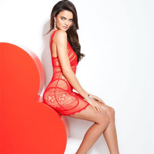 bebe Dresses - Bebe lace Dress beige red strap overlay deep l